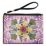 Small Leather Clutch Bag With Wristlet - Yellow Red Flower Diamond Art Design