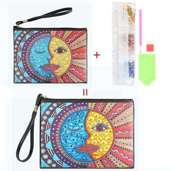 Small Leather Clutch Bag With Wristlet - Moon And Sun Face Diamond Art Design