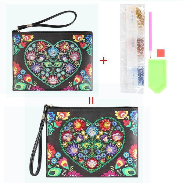 Small Leather Clutch Bag With Wristlet - Flower Heart Diamond Art Design
