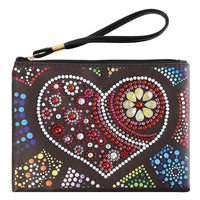 Small Leather Clutch Bag With Wristlet - Love Heart Diamond Art Design