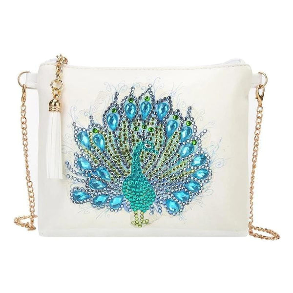 Small Leather Crossbody Bag With Chain - Blue Peacock Diamond Art Design