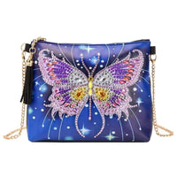 Small Leather Crossbody Bag With Chain - Night Butterfly Diamond Art Design