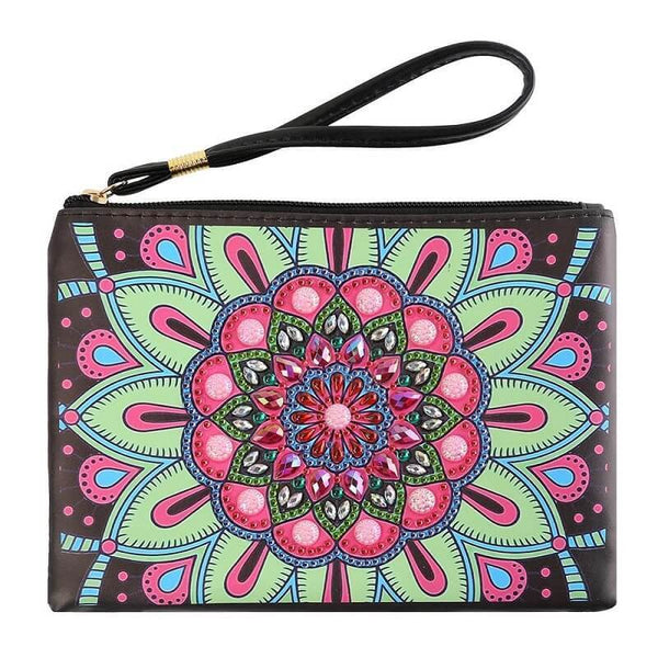 Small Leather Clutch Bag With Wristlet - Pink Green Mandala Diamond Art Design