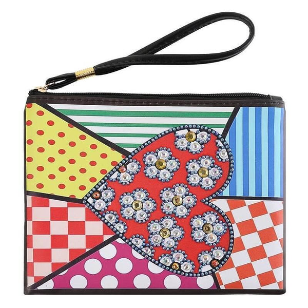 Small Leather Clutch Bag With Wristlet - Patchwork Heart Mandala Diamond Art Design