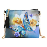 Small Leather Crossbody Bag With Chain - Blue Butterfly Diamond Art Design