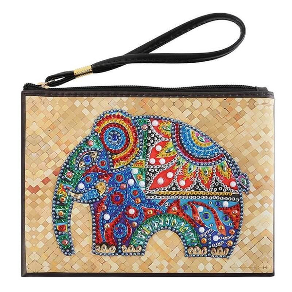 Small Leather Clutch Bag With Wristlet - Indian Elephant Diamond Art Design