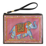 Small Leather Clutch Bag With Wristlet - Blue Elephant Diamond Art Design