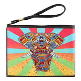 Small Leather Clutch Bag With Wristlet - Mighty Elephant Diamond Art Design