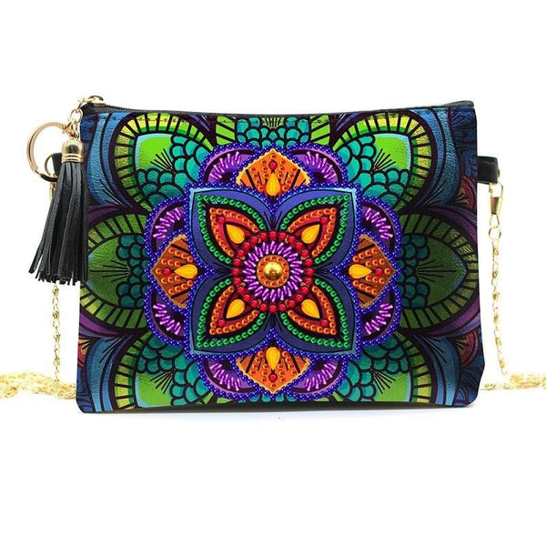 Small Leather Crossbody Bag With Chain - Orange Lotus Diamond Art Design