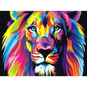 Colorful Abstract Lion - Diamond Art Kit