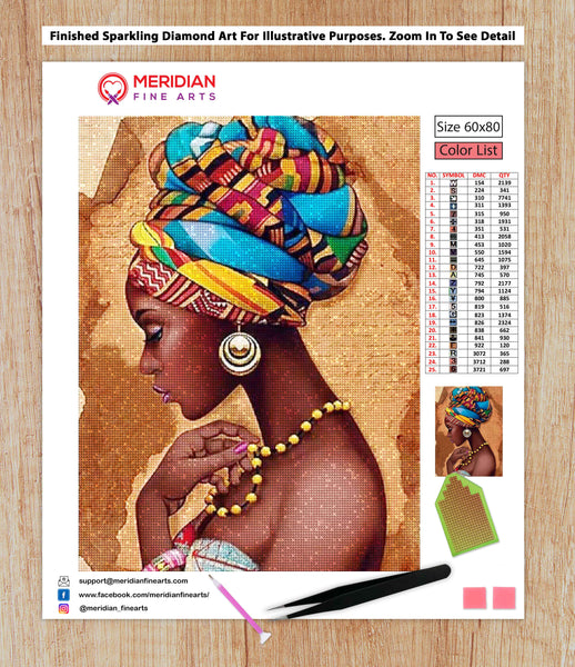 African Beauty With Yellow Necklace - Diamond Art Kit