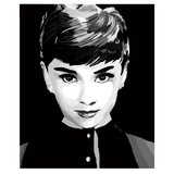 Audrey Hepburn in Black and White - Paint by Numbers Kit