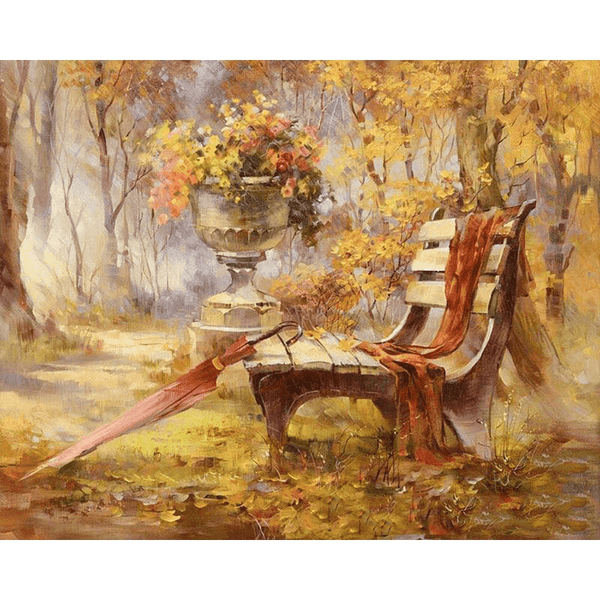 Autumn Garden With Bench