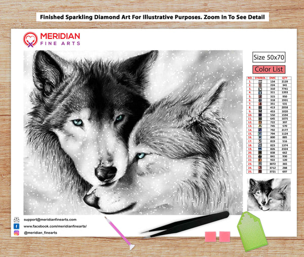 Black And White Wolves - Diamond Art Kit