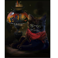 Black Halloween Cat Diamond Art