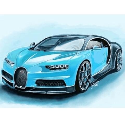Dashing Blue Sports Car - Diamond Art Kit