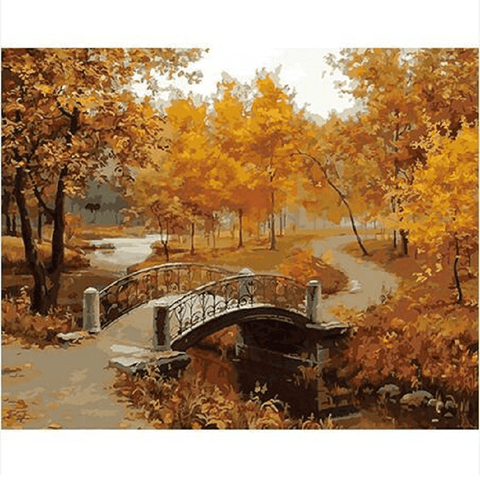 Bridge in an Autumn forest - Paint by Numbers Kit