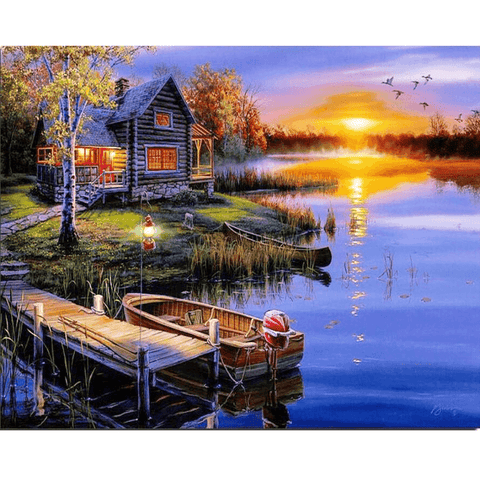 Cabin by the River - Diamond Art Kit
