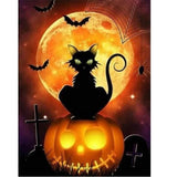 Cemetery Halloween Cat - Halloween Collection Diamond Art