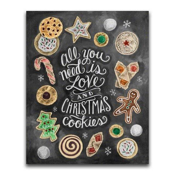 Christmas Cookies Blackboard - Diamond Art Kit