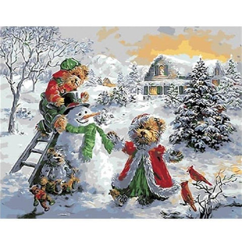 Christmas Teddies And The Snowman - Paint by Numbers Kit
