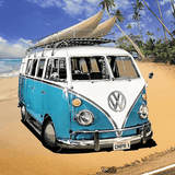 Classic Van at the Beach - Diamond Art Kit