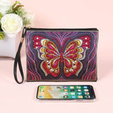 Small Leather Clutch Bag With Wristlet With Phone - Diamond Painting