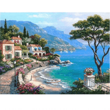 Coastal Town near Mediterranean Sea - Paint by Numbers Kit