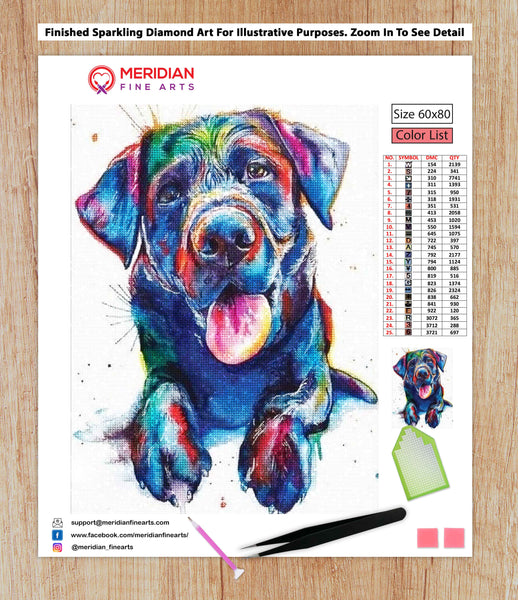 Colorful Black Labrador - Diamond Art Kit