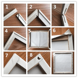 DIY wooden frame assembly instructions for Meridian Paint by Numbers kit