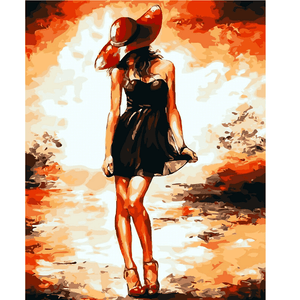 Dancing Girl With a Red Hat - Paint by Numbers Kit