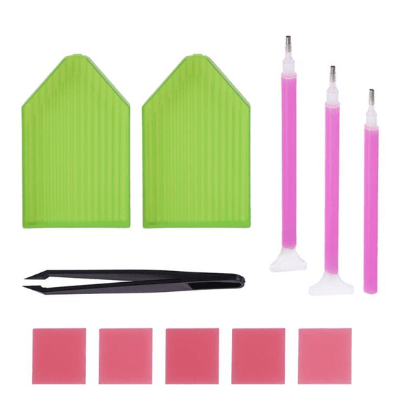 Diamond Painting toolkit with tray, sticky pen, glue and tweezer