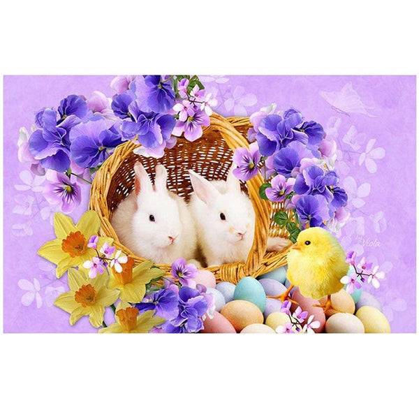 Easter Chick With Bunnies - Diamond Art Kit