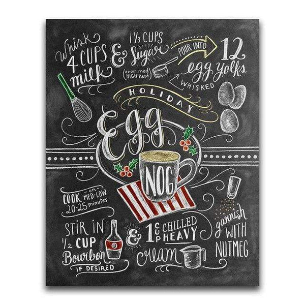 Egg Nog Recipe Blackboard - Diamond Art Kit