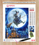 Flying Witch on Broomstick - Diamond Art Kit