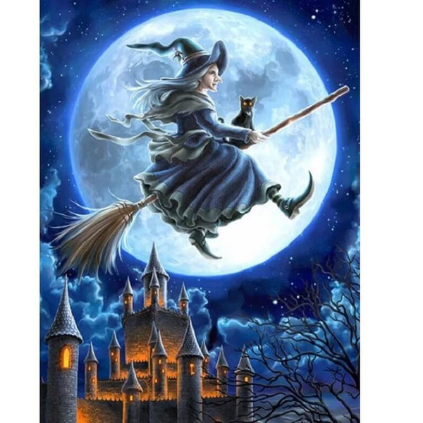 Flying Witch on Broomstick Diamond Art