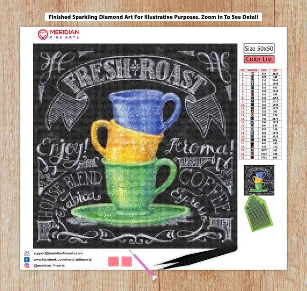 Fresh Coffee Roast Blackboard - Diamond Art Kit