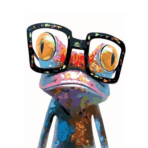 Abstract frog with glasses