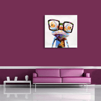 Abstract frog with glasses in living room