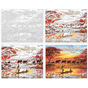 Elephant Herd at Sunset - Paint by Numbers Kit