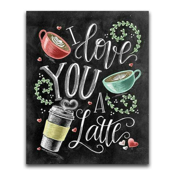 I Love You Latte Blackboard - Diamond Art Kit