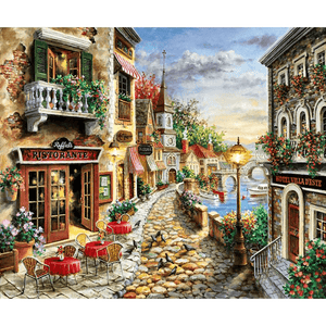 Italian Village with Cobbled Street - Diamond Art Kit