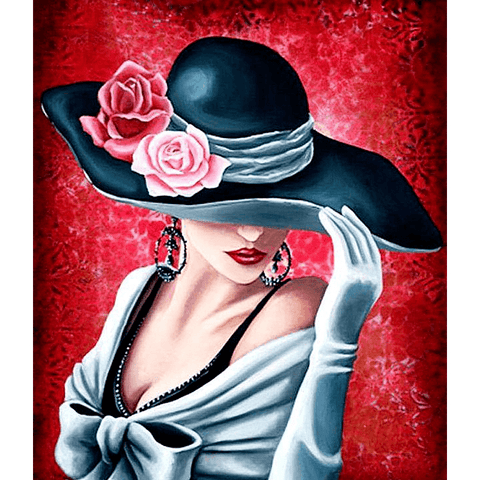 Lady in Black Hat - Diamond Art Kit