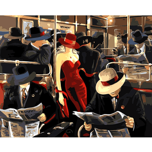 Lady in Red on the Train - Paint by Numbers Kit