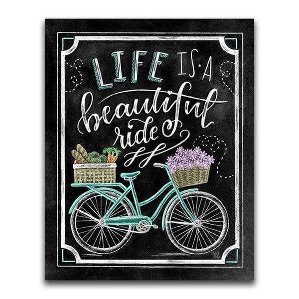 Life Is A Beautiful Ride Blackboard - Diamond Art Kit
