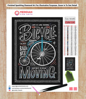 Life Is Like Riding A Bicycle Blackboard - Diamond Art Kit