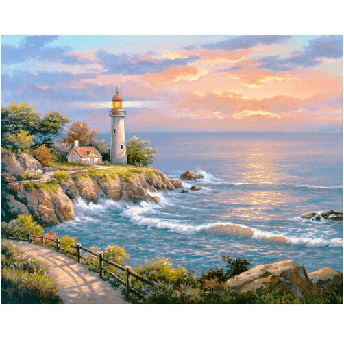 Light House Near the Sea - Diamond Art Kit