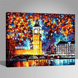 London's Big Ben Along Thames River - Paint by Numbers Kit