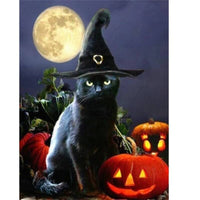 Midnight Halloween Cat - Halloween Collection Diamond Art