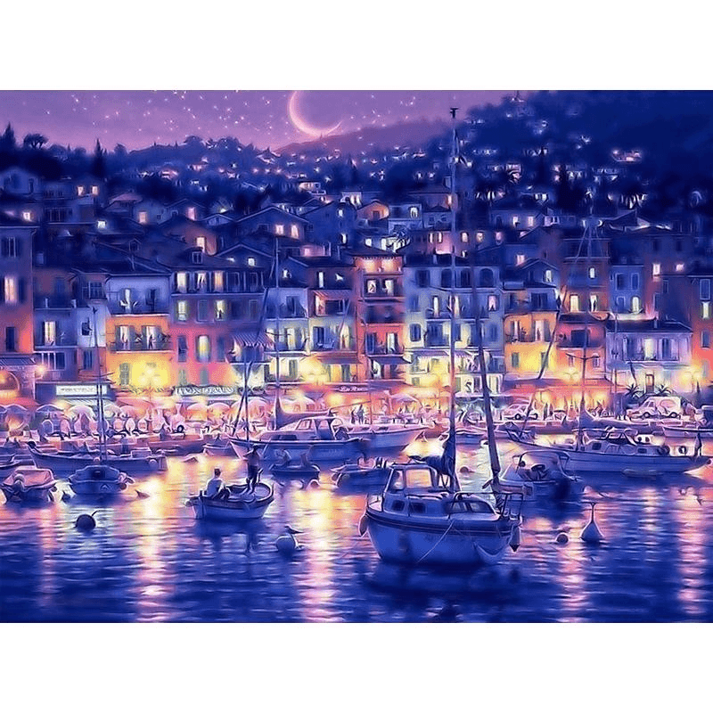 Moonlit Coastal City in Greece - Paint by Numbers Kit